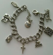Silver Christian Religious Charm Bracelet Cross Bible  Faith Hope I Love Jesus