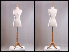 Size 2-4 Female Mannequin Dress Form+Maple Wood Base JF-FWPW-4 + BS-01NX