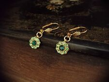 Vintage Emerald & Peridot Green Crystal & Gold Leaf Round Drop Pierced Earrings