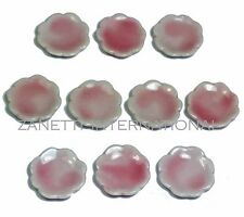 10-Piece Dollhouse Miniature Pink Ceramic Plates / Dishes Set * Doll Mini Food