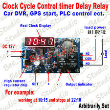 DC 12V Relay Clock Cycle PLC Control Timer Delay Switch LED Display for Car DVR