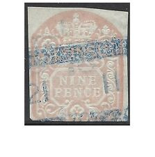 GB 1872 9d EMBOSSED ADHESIVE Revenue 'scales' watermark