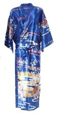 (810302)Blue Ladies Long Silk Satin Feel Kimono Robe Dressing Gown 12-18 UK