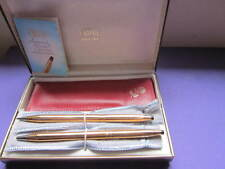 CROSS CENTURY 14KT. G.F. LADIES LINE BALL POINT PEN & PENCIL WITH  PINK POUCH