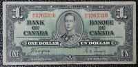 BANK OF CANADA - 1937 $1 NOTE - PREFIX M/N - Signed Coyne & Towers - NCC