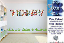 Paw Patrol Wall Sticker Personalized Name Children's bedroom décor Art large