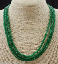 GENUINE NATURAL 3 Rows 2X4mm FACETED GREEN EMERALD ABACUS BEADS NECKLACE17-19""