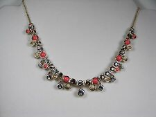 Givenchy Lark Necklace Gold Tone Coral, Pearl & Crystal Accented  NWT MSRP $78