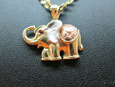 14kt Yellow+White+rose Color Gold Elephant Pendant