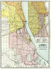 MAP ANTIQUE 1897 RAND McNALLY CHICAGO RAILROAD RAILWAY REPLICA PRINT PAM1998