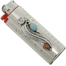 Silver Lighter Case Cover Navajo Turquoise Coral Western Display