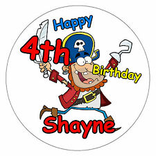 PIRATE -  BIG PERSONALISED BIRTHDAY BADGE, AGE, NAME + ANY THEMES - NEW