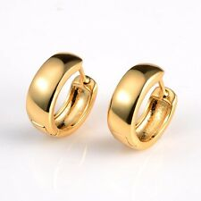 Charming 18k Yellow Gold Filled Women Smooth Earrings Cool 16mm Hoops Jewelry