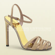 $750 GUCCI SHOES FLEUR STUDDED SUEDE LEATHER SANDALS HIGH HEEL sz 39 / 9