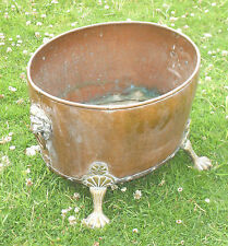 VICTORIAN ANTIQUE LARGE RIVETED COPPER JARDINERE PLANTER LION HEAD & PAW FEET
