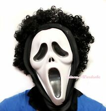 HALLOWEEN Unisex Afro Curl Hair Ghost Face Horror Mask Wig Headgear