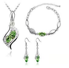 Luxury Jewellery Set Green Crystal Eyes Drop Earrings Necklace & Bracelet S262