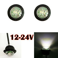 "2X 3/4"" White Round Side Marker LED Clearance Truck Trailer Boat Light + Grommet"