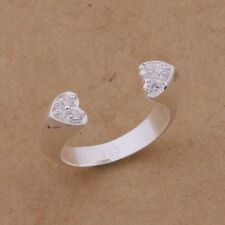 *UK* 925 SILVER PLT ADJUSTABLE OPEN ENDED DOUBLE LOVE HEART RING CRYSTAL THUMB
