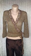 Piro By Klaus Berggreen knitted cropped wrap cardigan top size L( 12-14 -16 UK)