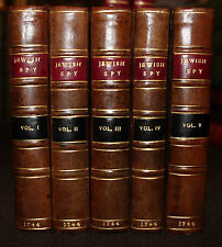 1744 The JEWISH Spy Jean Baptiste De Boyer Marquis D'Argens 5 Volumes Complete