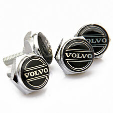 4Pcs Metal Car Logo License Plate frame holder Bolts Screws Cap Cover for VOLVO