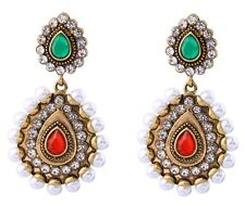 GREEN RED WHITE PEARL BEAD Designer Gripoix Rhinestone Gold Chandelier Earrings