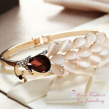 18K Rose Gold Plated Simulated Crystal And Opal Amethyst Peacock Bangle