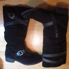 NINE WEST Boots - Black Suede Leather Tall Knee High Boots Flat Sz 10 Zipper