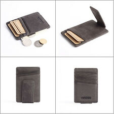 Leather Slim Thin Credit Card Holder Mini Wallet ID Case Purse Bag Pouch Gray