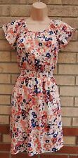 NEW LOOK CREAM PINK BLUE BLUE SILKY FEEL SKATER A LINE FLIPPY TEA DRESS 8 S