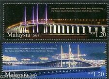 Second Penang Bridge set of 2 mnh stamps 2014 Malaysia