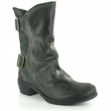 FLY LONDON MYLO MANGO LEATHER & SUEDE ZIP UP MID CALF BOOTS UK 4 EUR 37 RRP £130