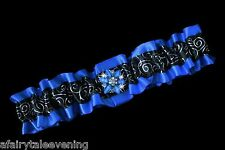 PLUS SIZE ROYAL BLUE & BLACK SATIN RIBBON Toss PROM GARTER Belt Wedding Bridal
