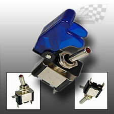 ON/OFF AIRCRAFT STYLE BLUE FLIP COVER TOGGLE SWITCH 12v RACING SWITCH