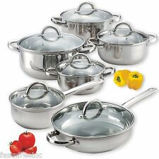 12 Piece Stainless Steel Pans Pots Set Glass Clear Lids Induction Stove