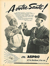 PUBLICITE ADVERTISING 045  1958  ASPRO  aspirine LE FACTEUR & LE CUISTOT