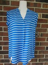 NWT Petite Small Blue White Striped Top Blouse Sleeveless Tunic High Low Hemline