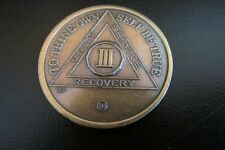 3 Years III AA Anniversary Alcoholics Anonymous Sobriety Medallion Token New