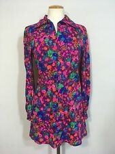 Vintage 60's 70's Mod GoGo Scooter Psychedelic Floral Handmade Zip Mini Dress