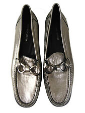 Women Shoes ROLAND CARTIER Silver Leather Casual Slip On Flat Shoes Size 5.5