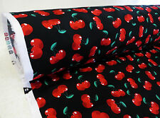 by METRE black fruit fabric RED ripe CHERRY rockabilly vintage summer cute swing