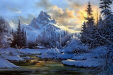 Hd Print Snow Valley in Morning Landscape Oil painting Printed on canvas P457