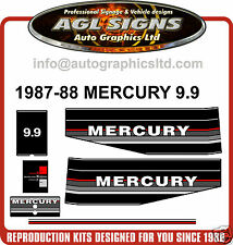 1987 - 1988 MERCURY 9.9 HP OUTBOARD MOTOR DECAL SET