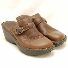Women's BJORNDAL BJORN EXPLORE Brown Leather Slip On Clogs Buckle Shoes sz 8 M