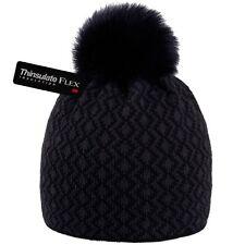 YUTRO Women's Wool Thinsulate Fleece Lined Beanie with Rabbit Pom  BLACK PRO202