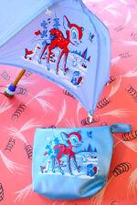 Vtg 60s girls BAMBI MINI UMBRELLA & PURSE SET kids rainwear deer illustration