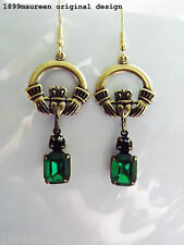 Irish Claddagh earrings Art Nouveau Deco Celtic earrings vintage green crystal