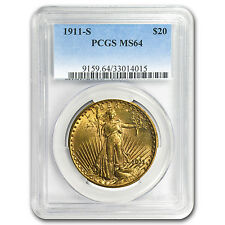 1911-S $20 St. Gaudens Gold Double Eagle MS-64 PCGS - SKU #15281