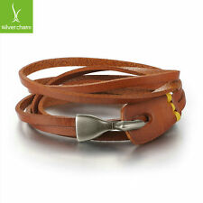 2016 Hot Popular Trendy Unisex Leather Bracelet Braided Rope Chain Brown Bangle